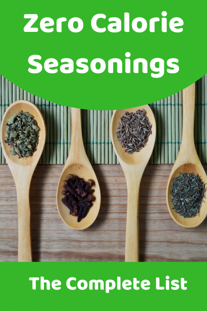 A complete list of zero and low calorie food seasonings
