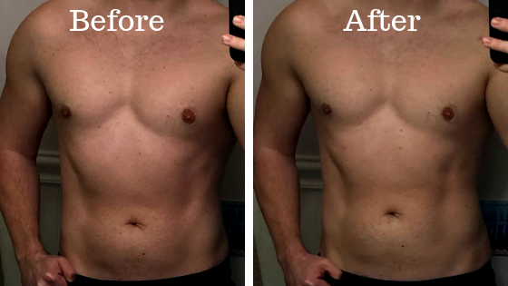 Stomach and abs before and after 24 hour fast