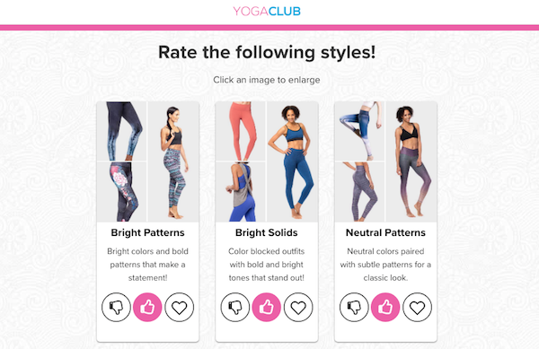 Rate styles in the YogaClub quiz
